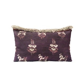 Flower in the snow purple silk pillow