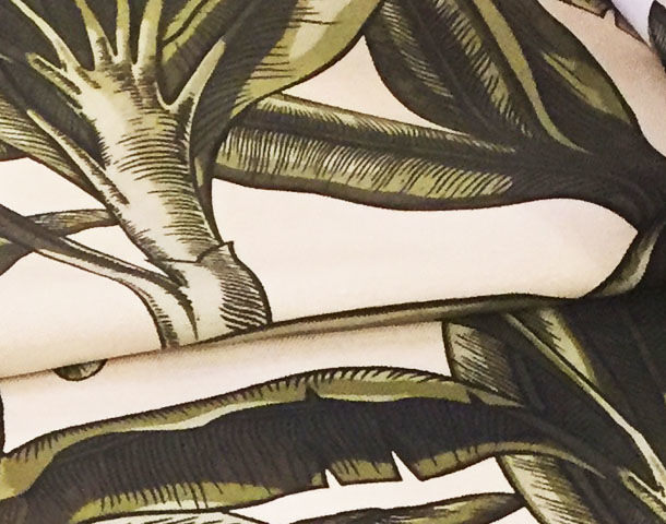 the new print design Banana Leaf on linen  for the perfect jardin d hiver