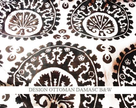 NEW ! Ottoman damasc b&w on linen voile